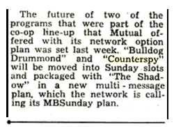 Billboard Dec 12 1953 announcement of Mutual's intent to move Counterspy to Sunday