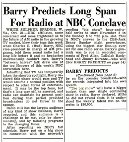 Optimistic Billboard article touting NBC's confidence in Radio and The Big Show from October 28 1950