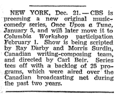 December 28 1946 Billboard announcement of Once Upon A Tune for a proposed 25 programs.