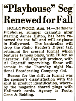 Billboard announcement of the renewal of Hallmark Playhouse for the Fall of 1948