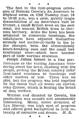 Billboard follow-up review of the four-program extension of An American In England from December 12 1942.