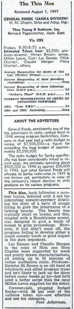 The Billboard review of Season 7 of The Thin Man was lukewarm at best from August 9 1947