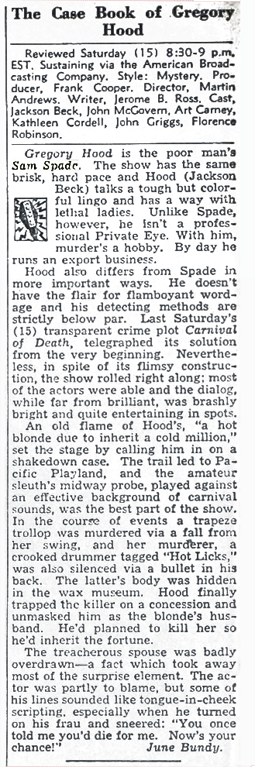 Billboard review of the Jackson Beck run of The Case Book of Gregory Hood from October 29 1949