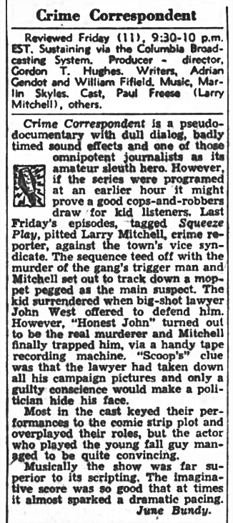 The Billboard review of November 26, 1949 that may have guessed correctly at the reason(s) for Crime Correspondent's early demise.