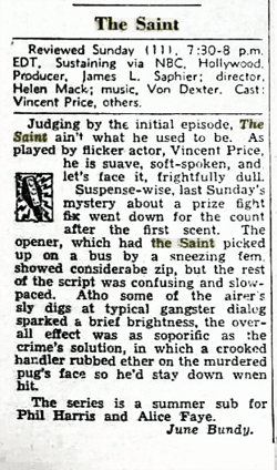 Billboard magazine's June Bundy reviews the premiere of The Adventures of The Saint over NBC from June 24 1950