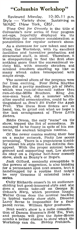 Billboard review of Columbia Workshop's Time Out for Comedy series from Aug 29 1942