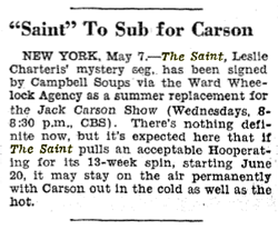 Billboard magazine announcement of Summer run of The Saint for Campbells Soups from May 12 1945
