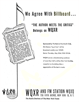 Not one to pass up public relations gold, The New York Times-owned WQXR ran its own ad two weeks later than the announcement above. This from April 25 1946