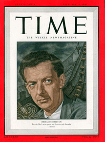 Benjamin Britten on the cover of Time Magazine