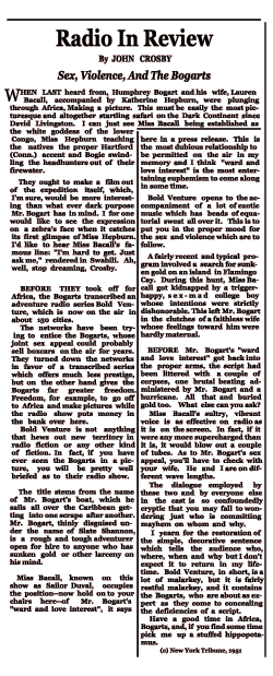 Bold Venture review by John Crosby from May 3, 1951