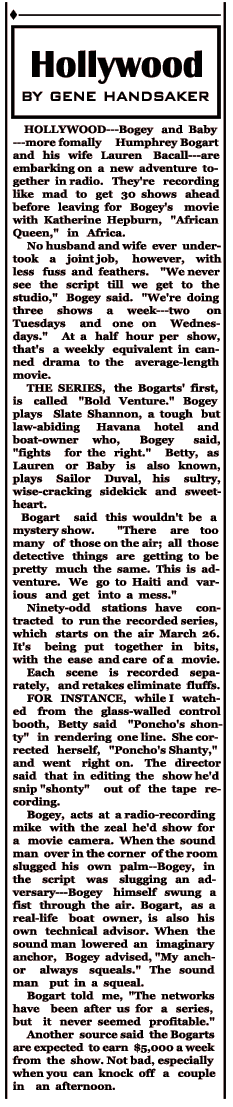 February 20, 1951 syndicated article on the recording sessions for Bold Venture.