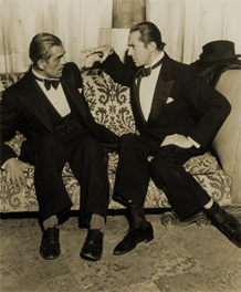 Karloff and Lugosi camp it up for the cameras, ca. 1937