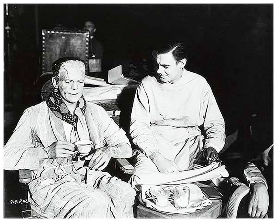 On the set of Frankenstein (1931) with Boris Karloff and Colin Clive