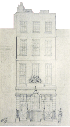 A faint,archival elevation view of approximately Nos. 16-18 Bow Street, reminiscent of the architectural style at No. 4 Bow Street. Though no known drawing of No. 4 Bow Street has survived, the two contemporaneous drawings above, very closely approximate the Magistrate's office and home to The Bow Street Runners, dating from 1749