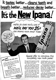 Greatly in demand as a spokesperson, the amiable Bud Collyer shows his support for Ipana toothpaste, ca. 1956
