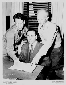 Captain Burgess Meredith goes over script for The Story of G.I. Joe with Ernie Pyle