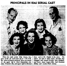 Herb Butterfield in character as Preacher Jim (upper left) is showcased in a newspaper teaser for 1939's Kitty Keene, Inc. serial melodrama.