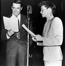 Cary Grant and Katharine Hepburn at CBS mike for The Philadelphia Story (1942)