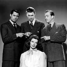 Cary Grant with Jimmy Stewart, John Howard and Kate Hepburn in The Philadelphia Story (1940)