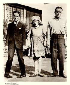 Charles Chaplin, Mary Pickford and Douglas Fairbanks in United Artists publicity photo, ca. 1927