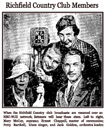 1933 announcement of resumption of The Richfield Country Club over NBC/WJZ, with Ernest Chappell as emcee.