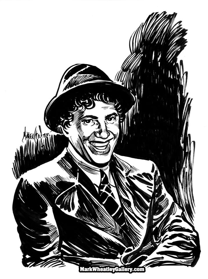 Chico Marx was a fast-talking operator, a perfect foil for Groucho, and an excellent translator for Harpo. My brush and ink interpretation.