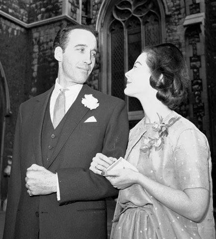 Christopher Lee and his wife Birgit Kroencke on their wedding day in 1961