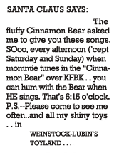 Weinstock-Lubin's Toyland ad for The Cinnamon Bear