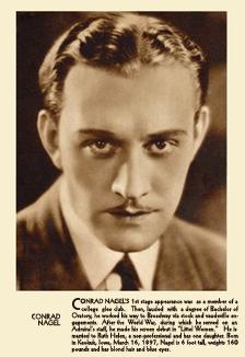 Conrad Nagel Fan Card Circa 1924