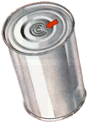 Debossed bottom of Continental Can Company tin cans