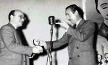 J.D. Carr participates in a Mystery Writers of America award ceremony, ca. 1959