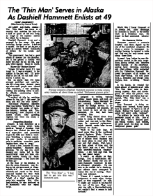Article about 'Dash' enlisting in the Army at the age of 49, ca. 1943 [Click image for the .pdf approx. 9.0 Mb ]
