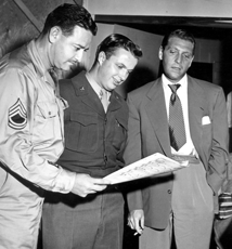 Rose goes over the script of an AFRS production with staff, ca. 1944