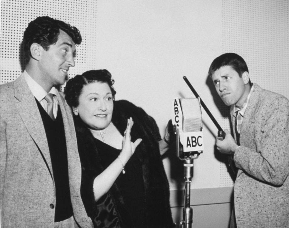 Dean Martin, columnist Louella Parsons, and Jerry Lewis