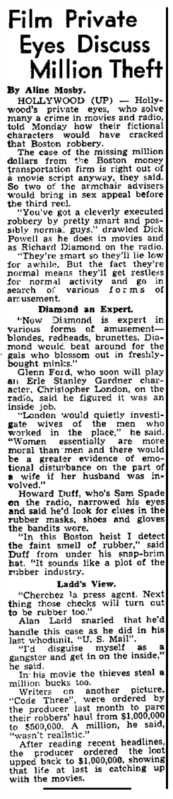 Syndicated article on how the popular Detectives of the era would approach a famous Million dollar theft of the era from January 23 1950