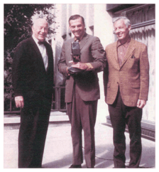 John Gibson poses with WTIC's Dick Bertel and Ed Corcoran, ca 1970.