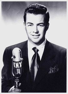 Dick Joy at the KNX Mike for CBS, ca. 1946