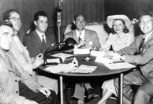 Ozzie Nelson and Harriet Hilliard visit Dick Joy, third from left at Palm Springs' KCMJ.