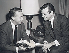 Three decades of Diamonds--Dick Powell and David Janssen review a script for TV's Richard Diamond, Private Detective (1957)