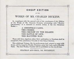 Dickens' A Christmas Carol was the first of five Christmas-themed Dickens novellas: A Christmas Carol The Chimes The Cricket On The Hearth The Battle of Life The Haunted Man