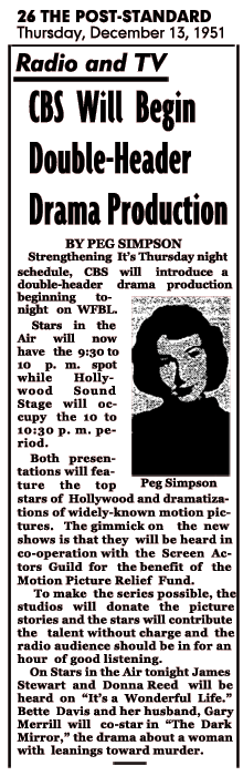 CBS announces it's Screen Guild double-header on December 13 1951