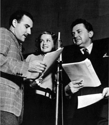 Jean Herholt and Rosemary DeCamp record a Dr. Christian episode with Gale Gordon, ca 1937