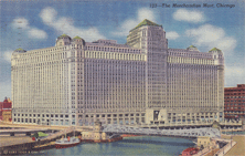 Chicago's huge Merchandise Mart, once the world's largest building, was the location of the theater from which WMAQ broadcast Curtain Time for Mars Incorporated