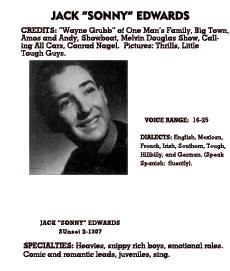 Jack Edwards' entry from the October 1940 edition of Lew Lauria's Radio Artists Directory. Jack Edwards portrayed Skip Turner for most of the run of Adventures By Morse
