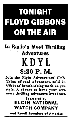 The Elgin-sponsored Adventurers' Club spot ad featuring Floyd Gibbons over NBC from October 14 1932