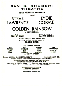 Playbill for the Stage Version of Kinoy's 'Golden Rainbow'