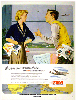 TWA ad from Esquire for Mr. and Mrs. Blandings from May 1951