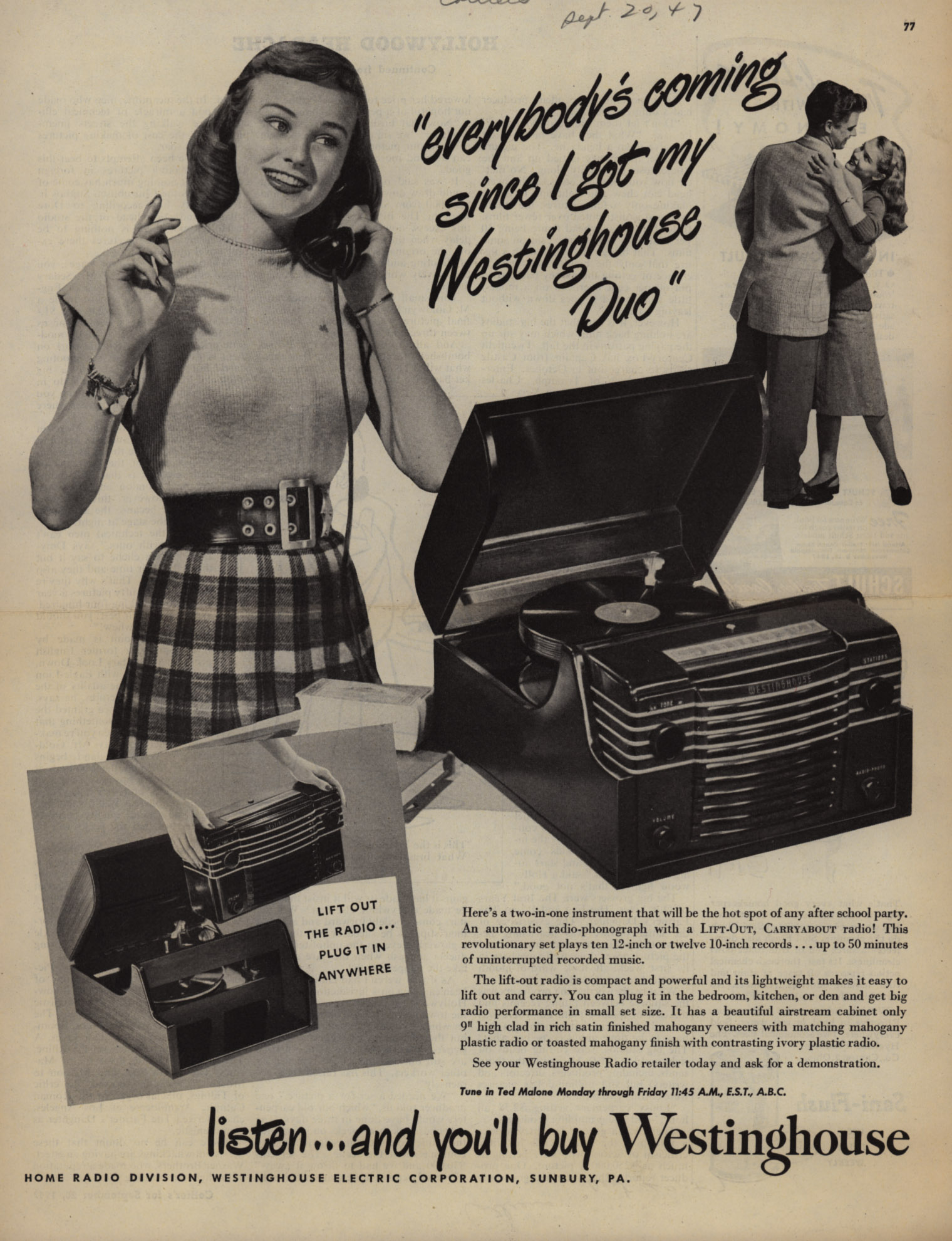 vintage record player ad
