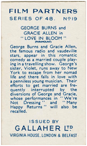 By 1935 Burns and Allen were already being heralded as one of the World's greatest Film Partnerships, as illustrated in this 1935 'cigarette card' from Great Britain