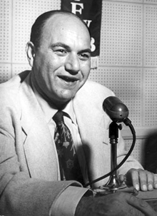 Larry Finley at the KFWB mike in Los Angeles circa 1957